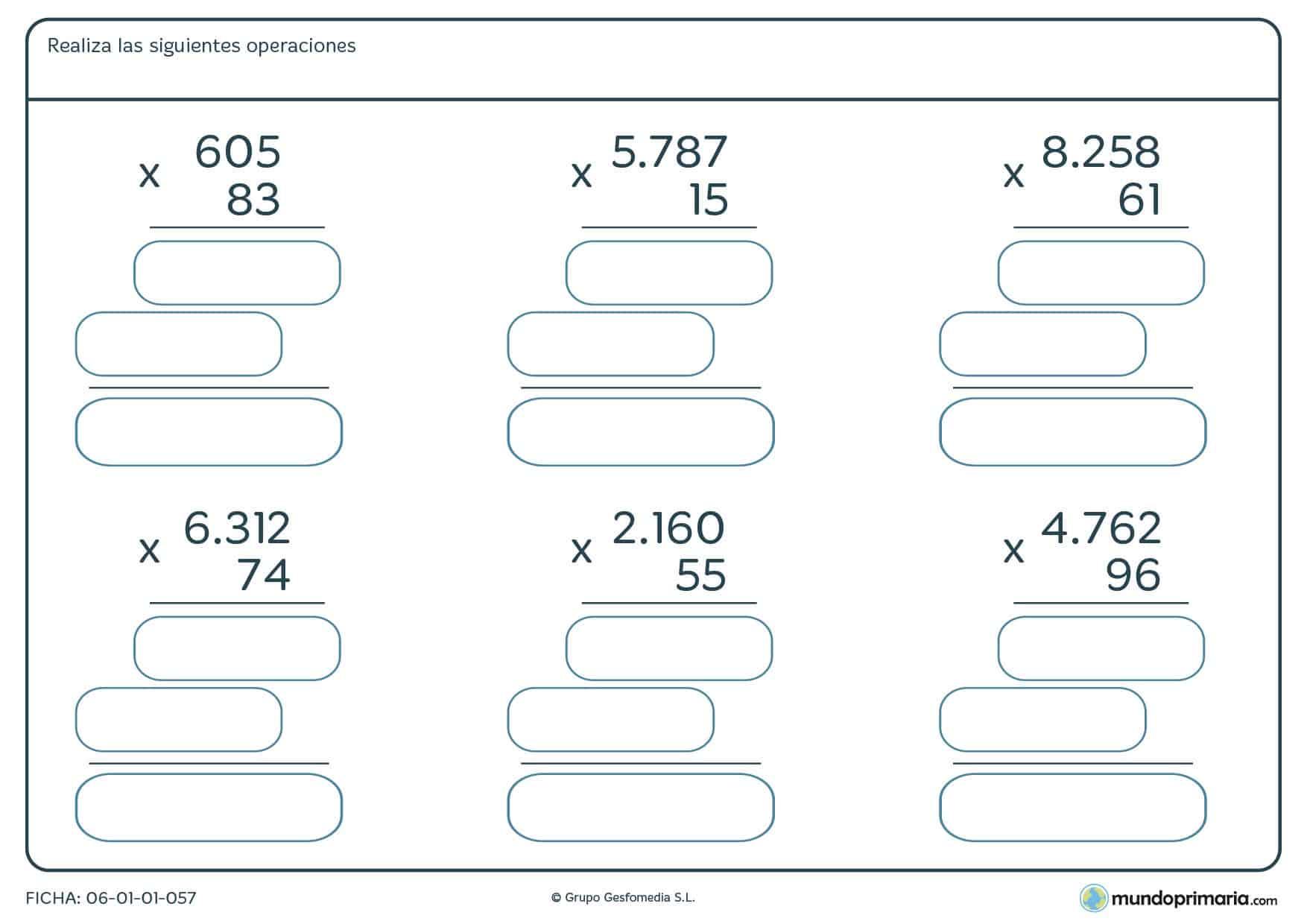 Ficha de hallar el resultado a las multiplicaciones propuestas, recomendada para niños de cuarto de Primaria o cursos superiores