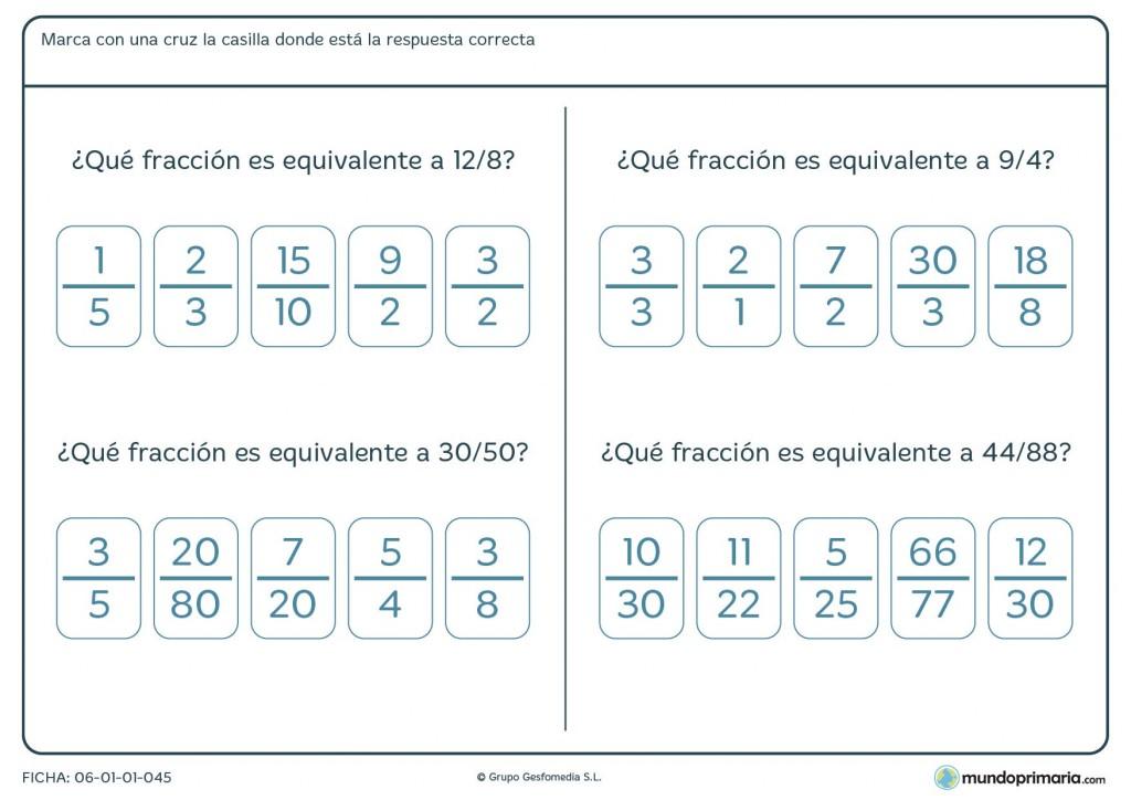 Ficha de hallar la fracción de igual valor para cuarto de Primaria