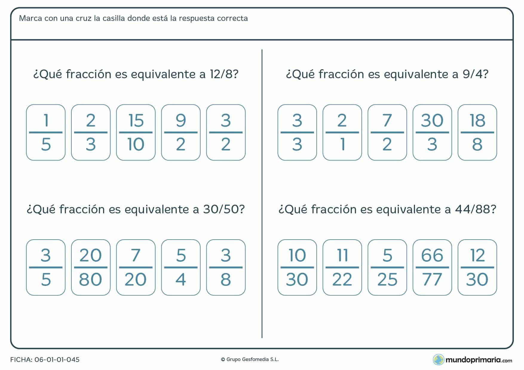 Ficha para cuarto de primaria consistente en hallar la fracción equivalente y marcarla con una cruz