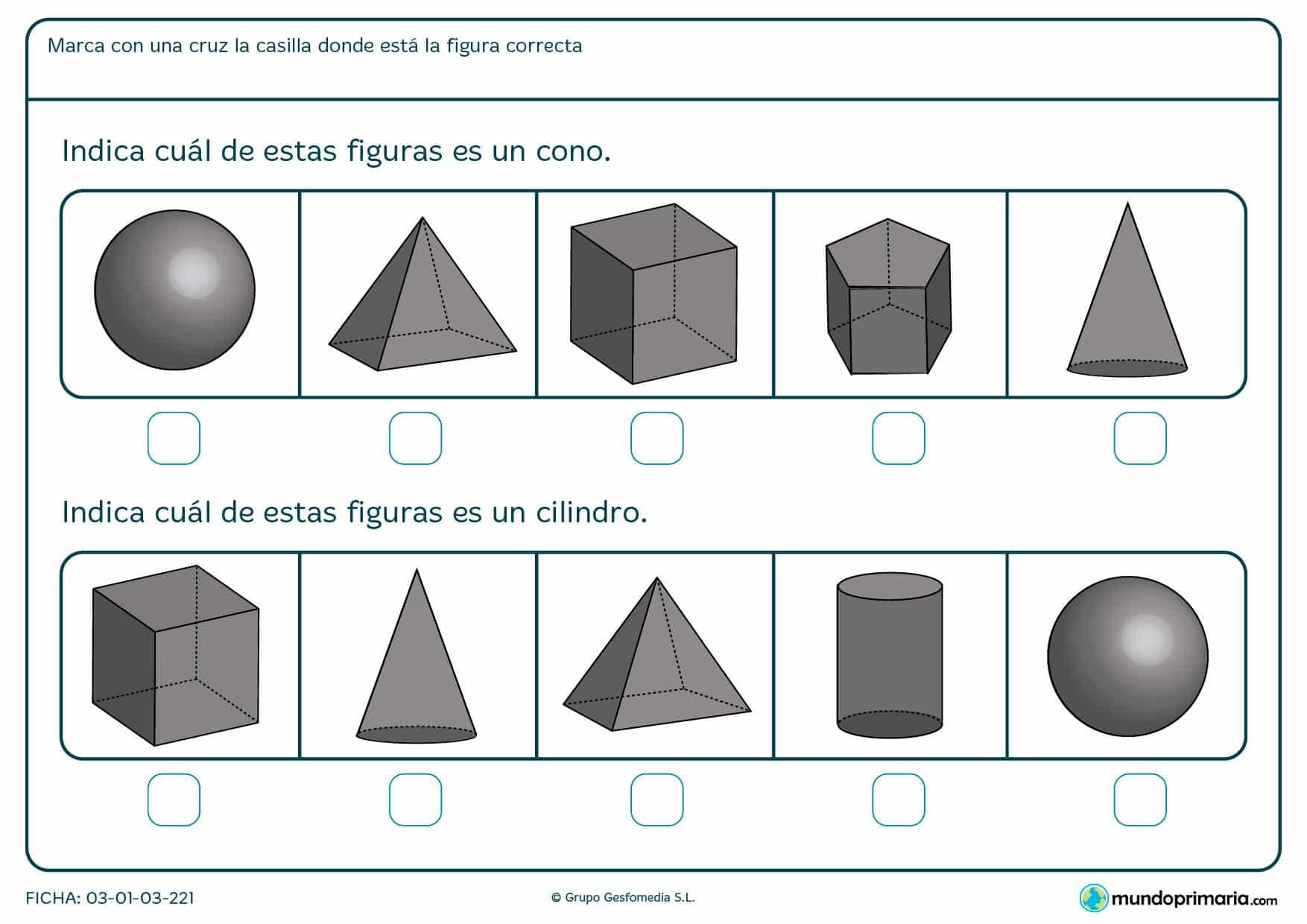 Ficha de indicar cuál es un cilindro en el que hay que marcar la casilla en la que se encuentra la figura correspondiente.
