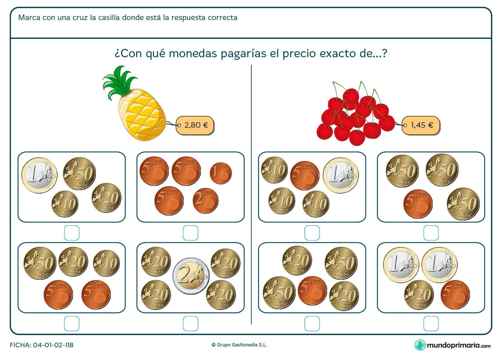Ficha de indicar el precio exacto de las cerezas para niños de siete a ocho años por la que los alumnos y alumnas aprenderán a gestionar cantidades de dinero.