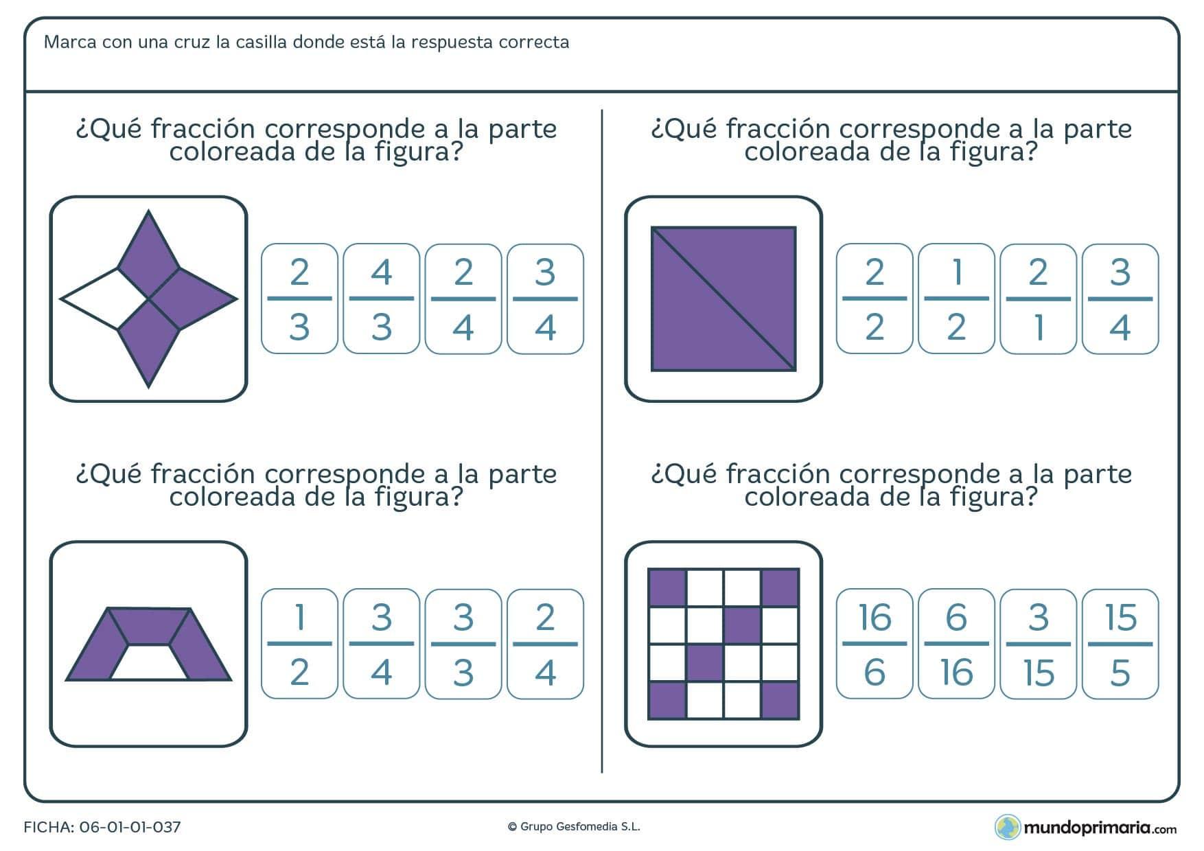 Ficha pensada para que los niños de cuarto de Primaria relacionen la parte coloreada y su fracción correspondiente