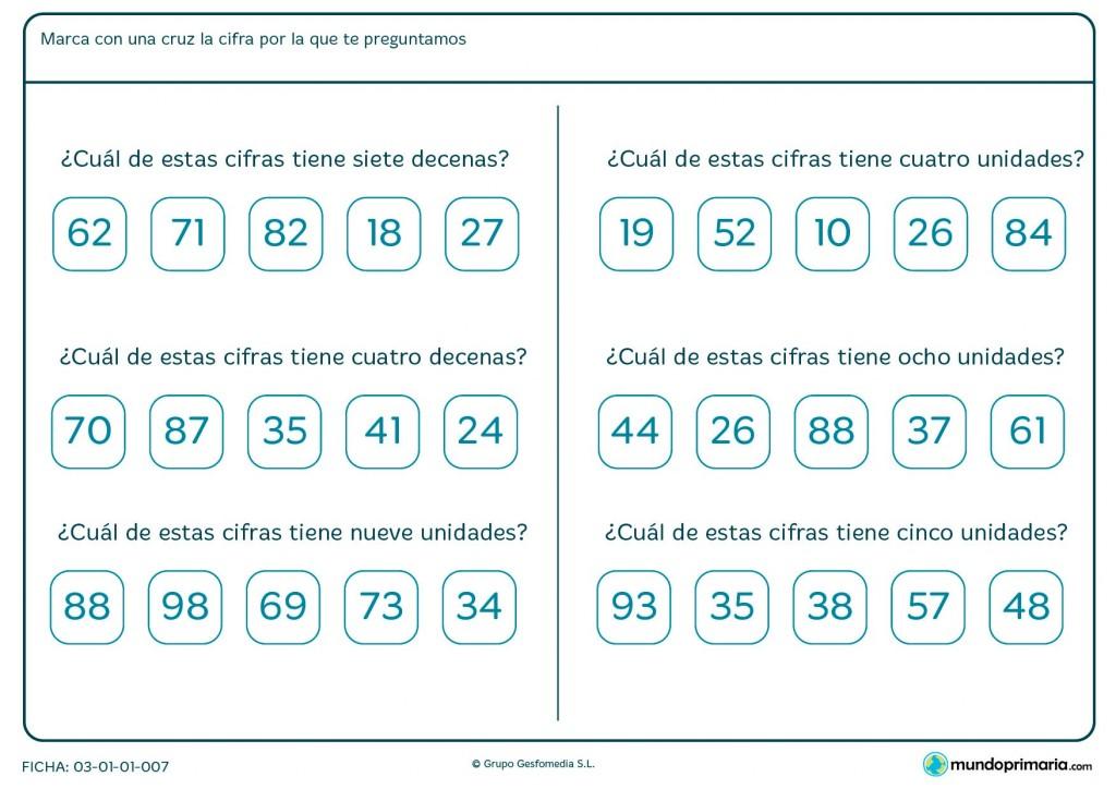 Ficha de interpretar cuántas decenas y unidades tiene para Primaria