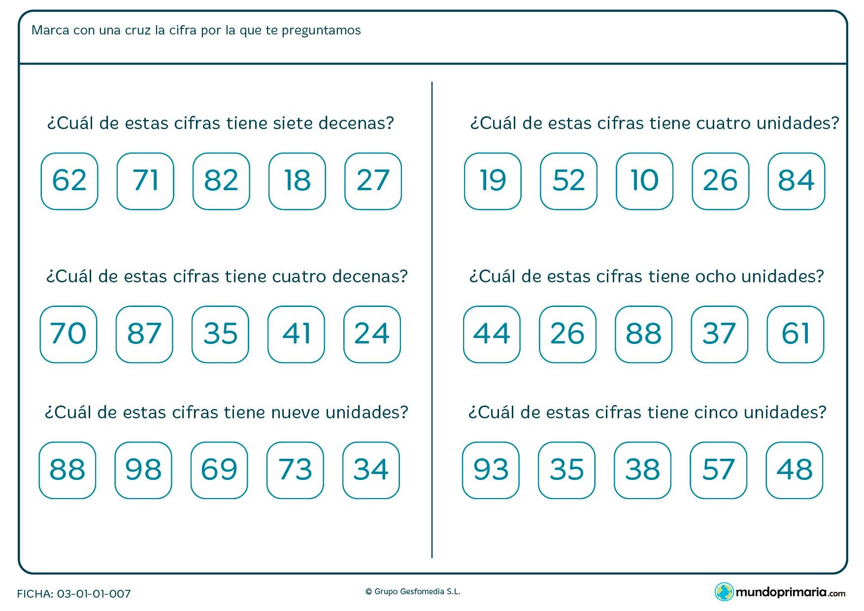 Ficha de interpretar cuantas decenas y unidades tiene cada número que viene en cada una de las seis preguntas.