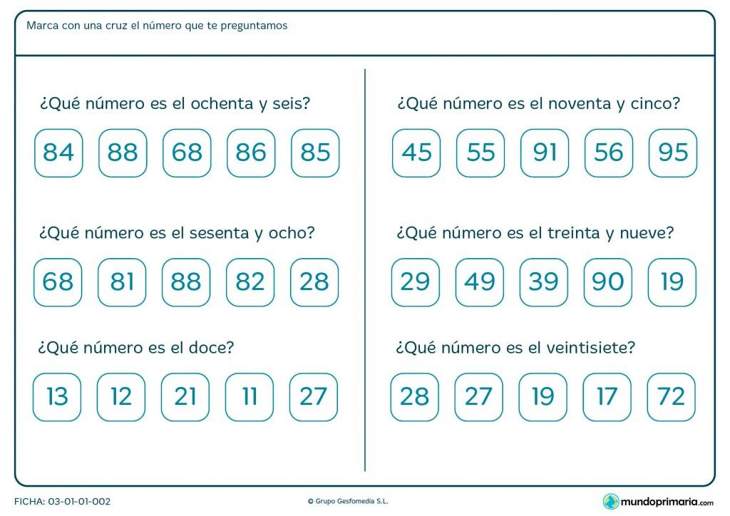 Ficha de interpretar los números para Primaria