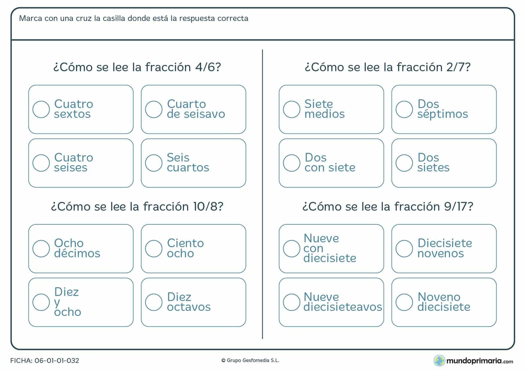 Ficha de leer fracciones diseñada para que los alumnos de 4º de Primaria puedan reforzar sus conocimientos