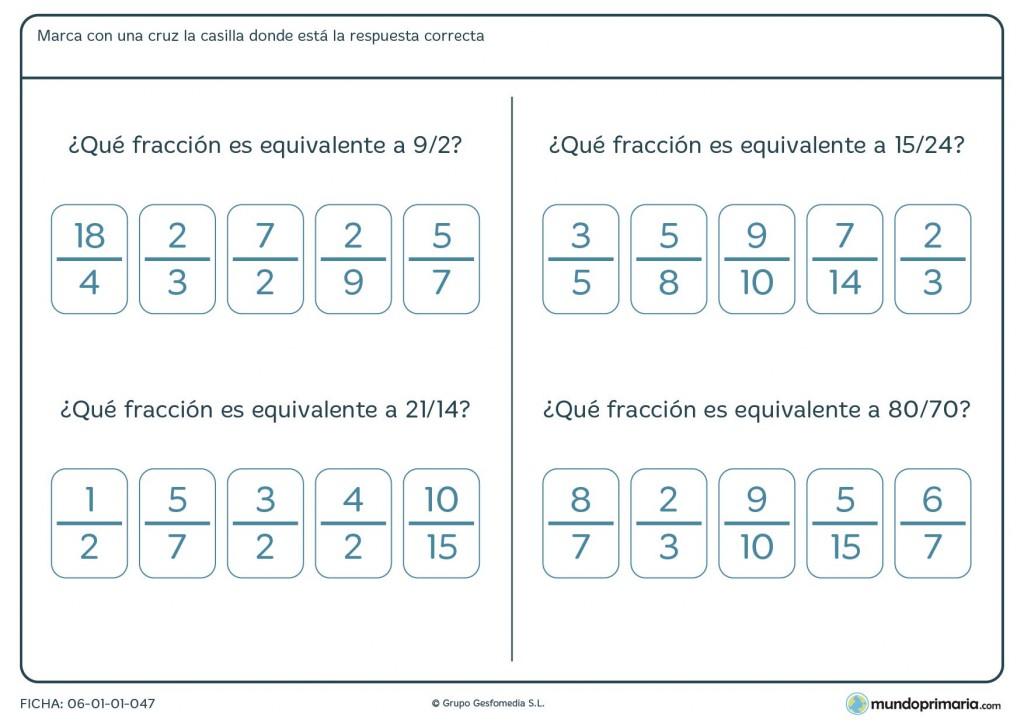 Ficha de localizar la fracción equivalente para niños de Primaria