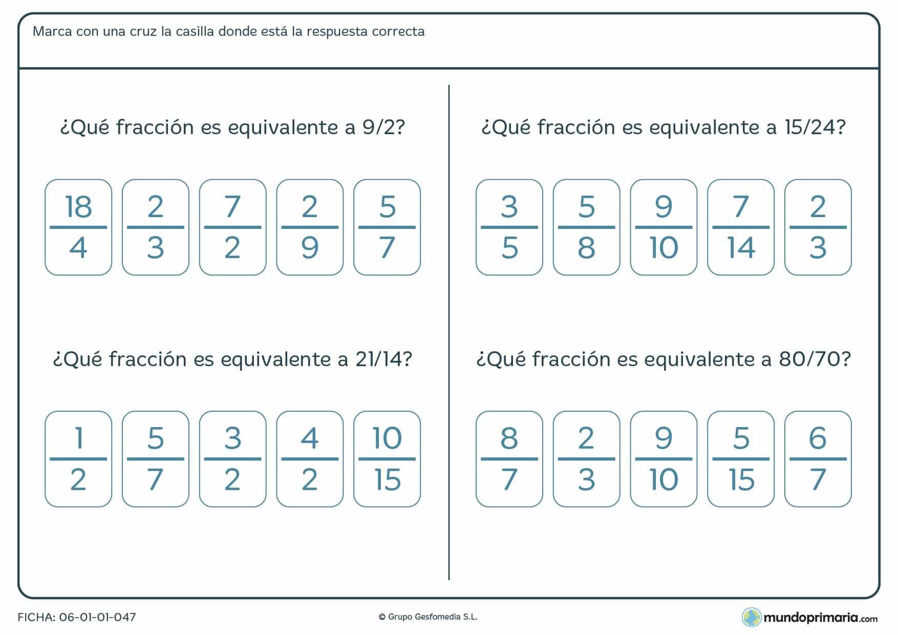 Ficha recomendada para alumnos de cuarto de Primaria que quieran repasar el tema de las fracciones equivalentes