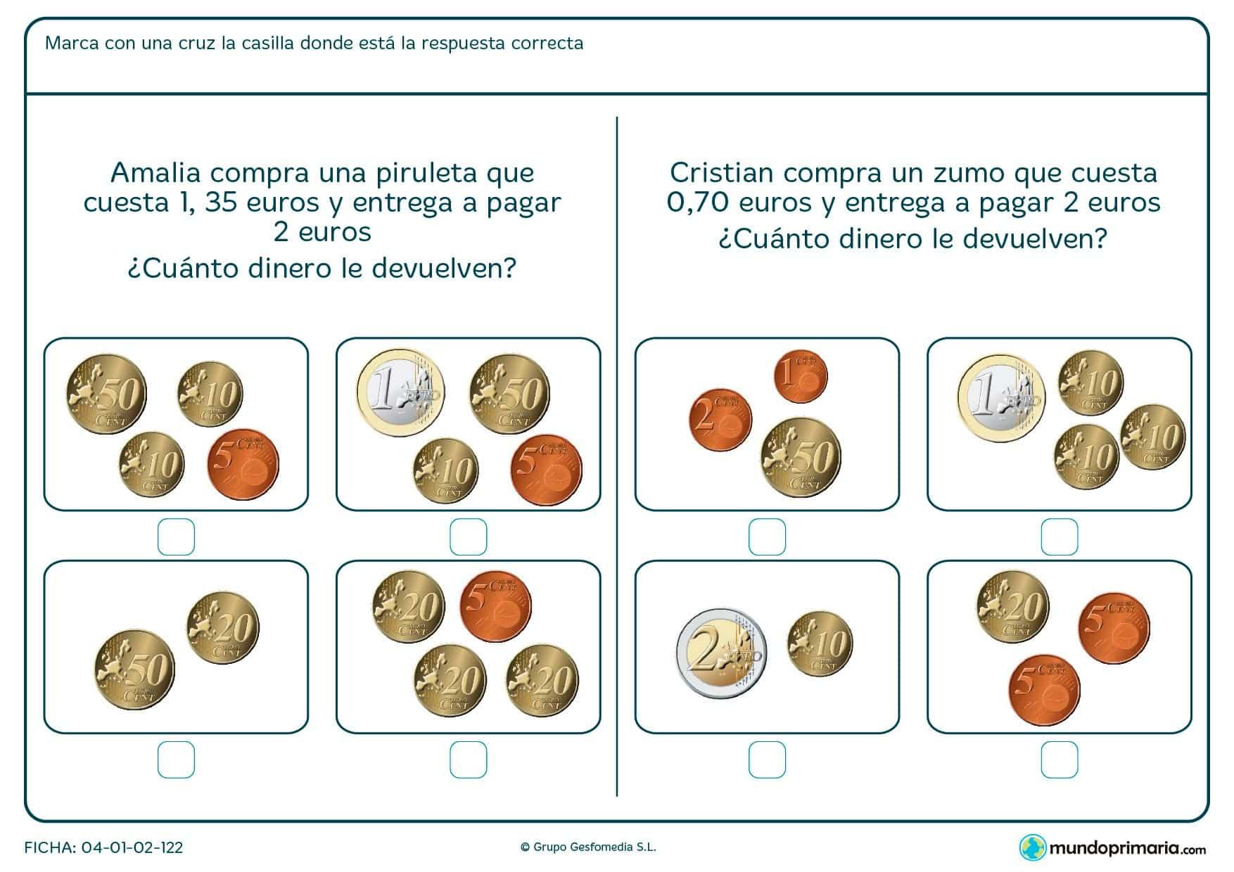 Ficha de marcar el dinero a devolver para niños de siete a ocho años por la que tendrán que seleccionar cuál es el cambio que les darán tras una compra.