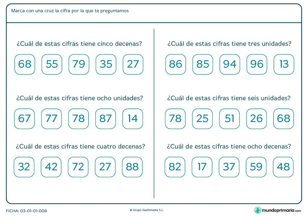 Ficha de marcar el número según sus unidades o decenas para Primaria