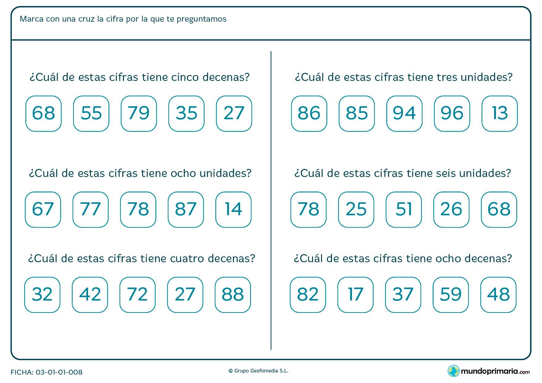 Ficha de marcar el número según sus unidades o decenas en el que hay que elegir la respuesta que creas correcta.