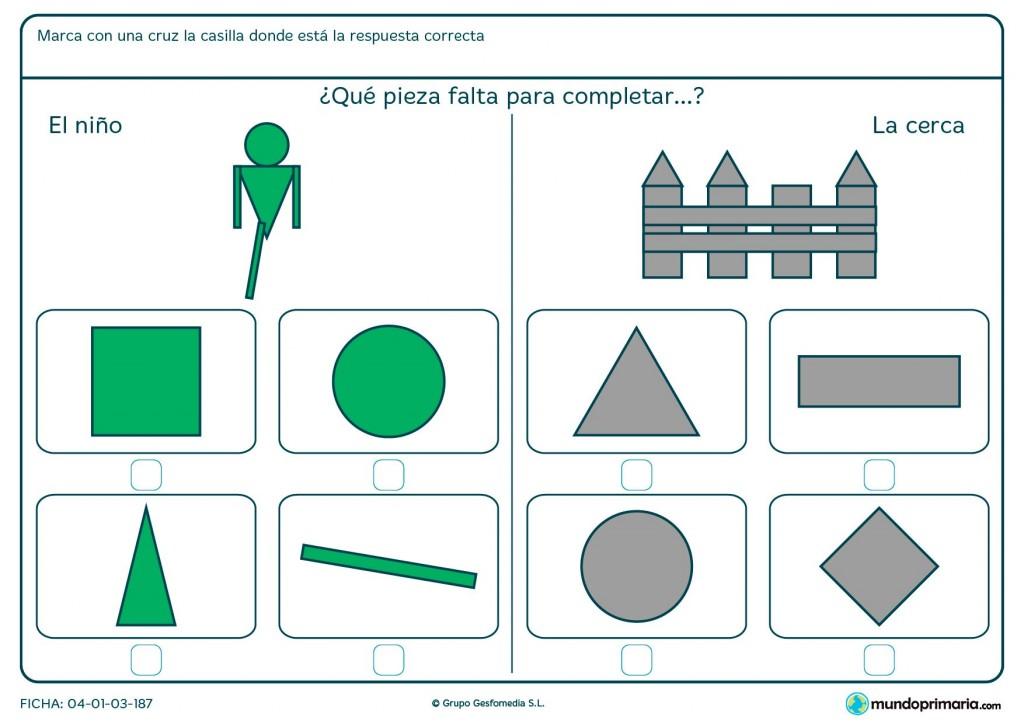 Ficha de marcar el polígono que completa el dibujo para primaria