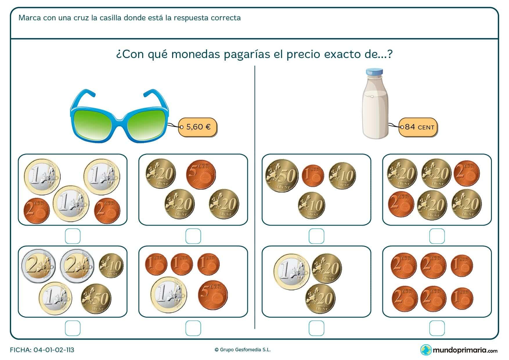 Ficha de marcar el precio exacto de las gafas para niños de Primaria por la que los niños decidirán cuál es el modo de pagar por el objeto.