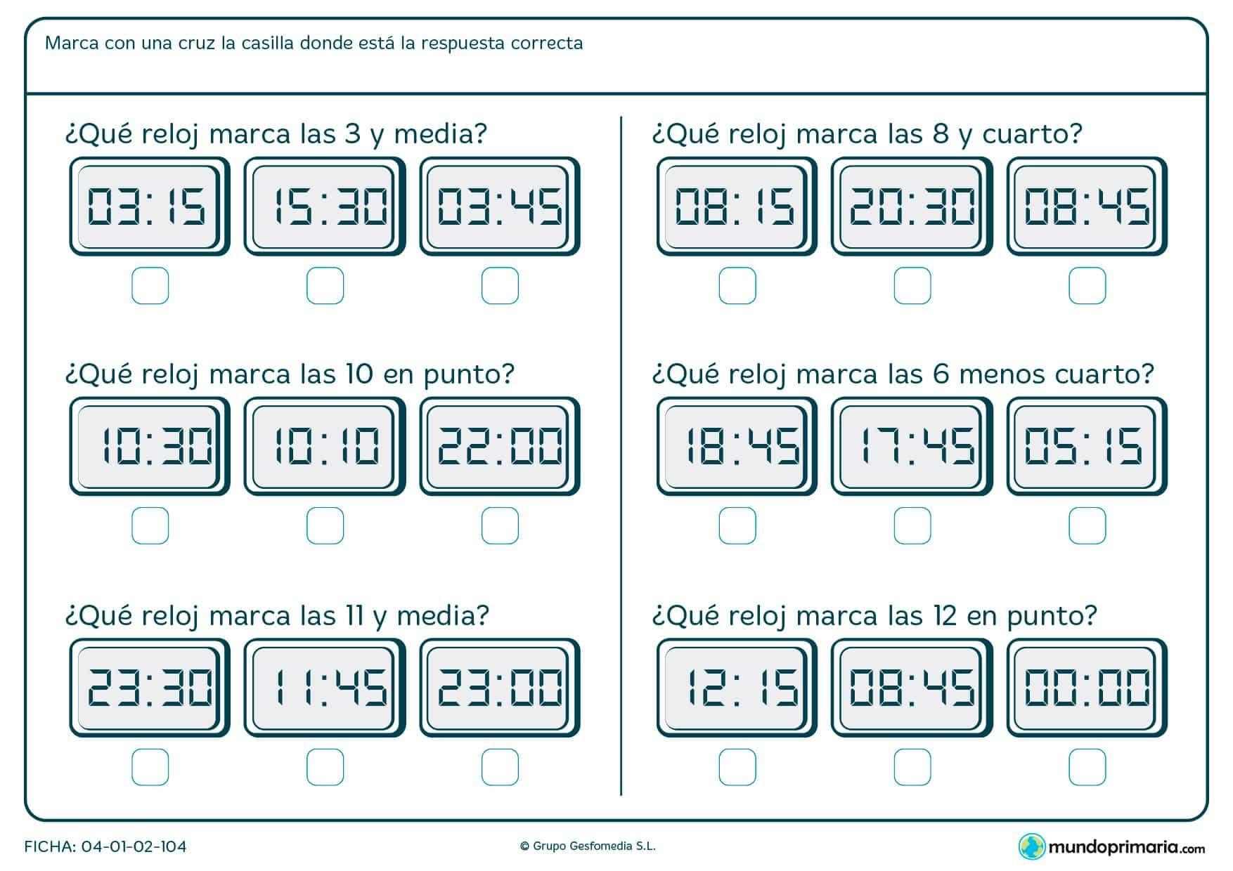 Ficha de marcar el reloj correcto para niños de segundo de Primaria por la que tendrán que elegir la opción adecuada según el enunciado.