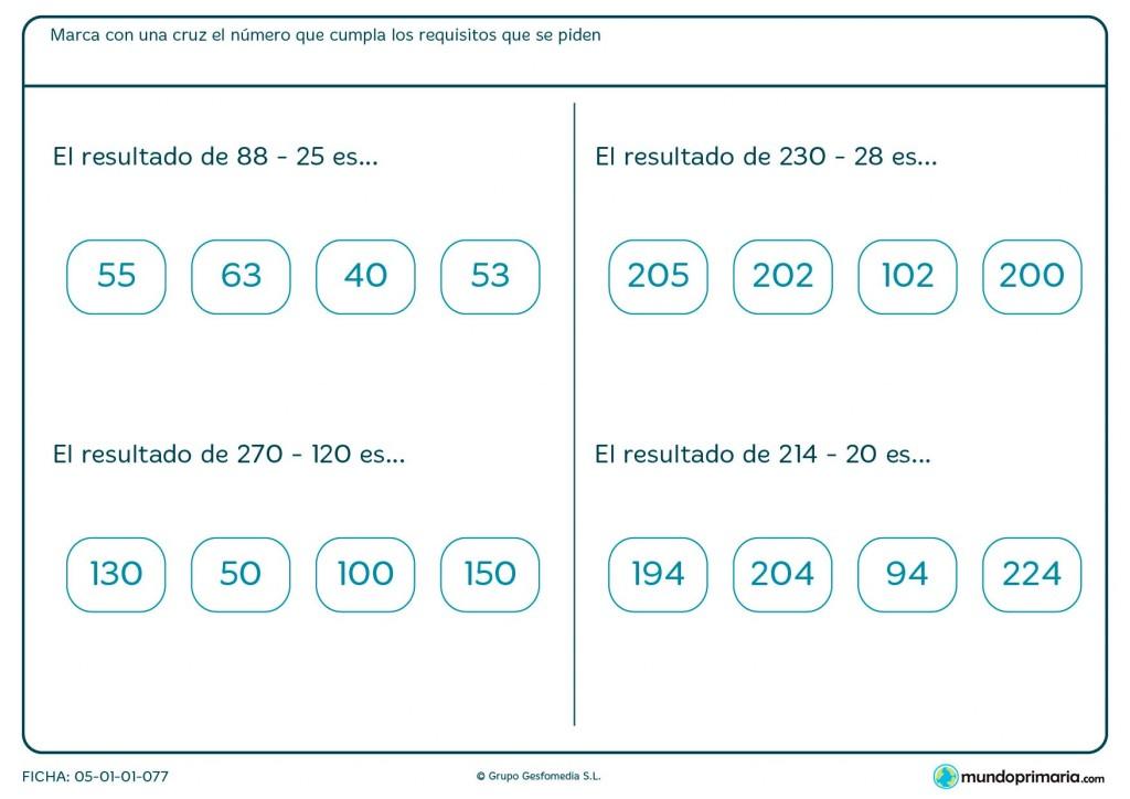 Ficha de marcar el resultado de sumas y restas para Primaria