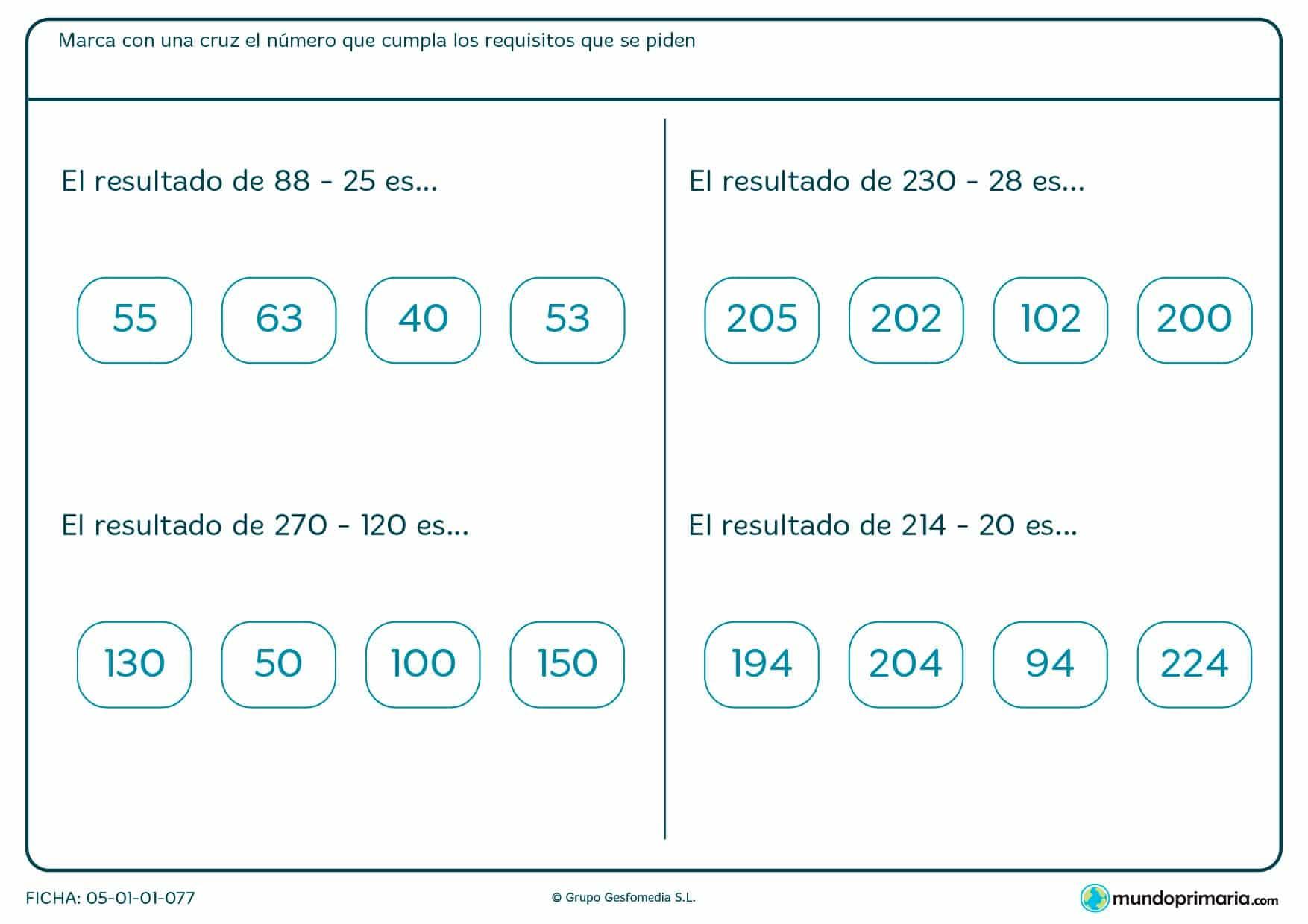 Señala los resultados de estas sumas y restas horizontales.