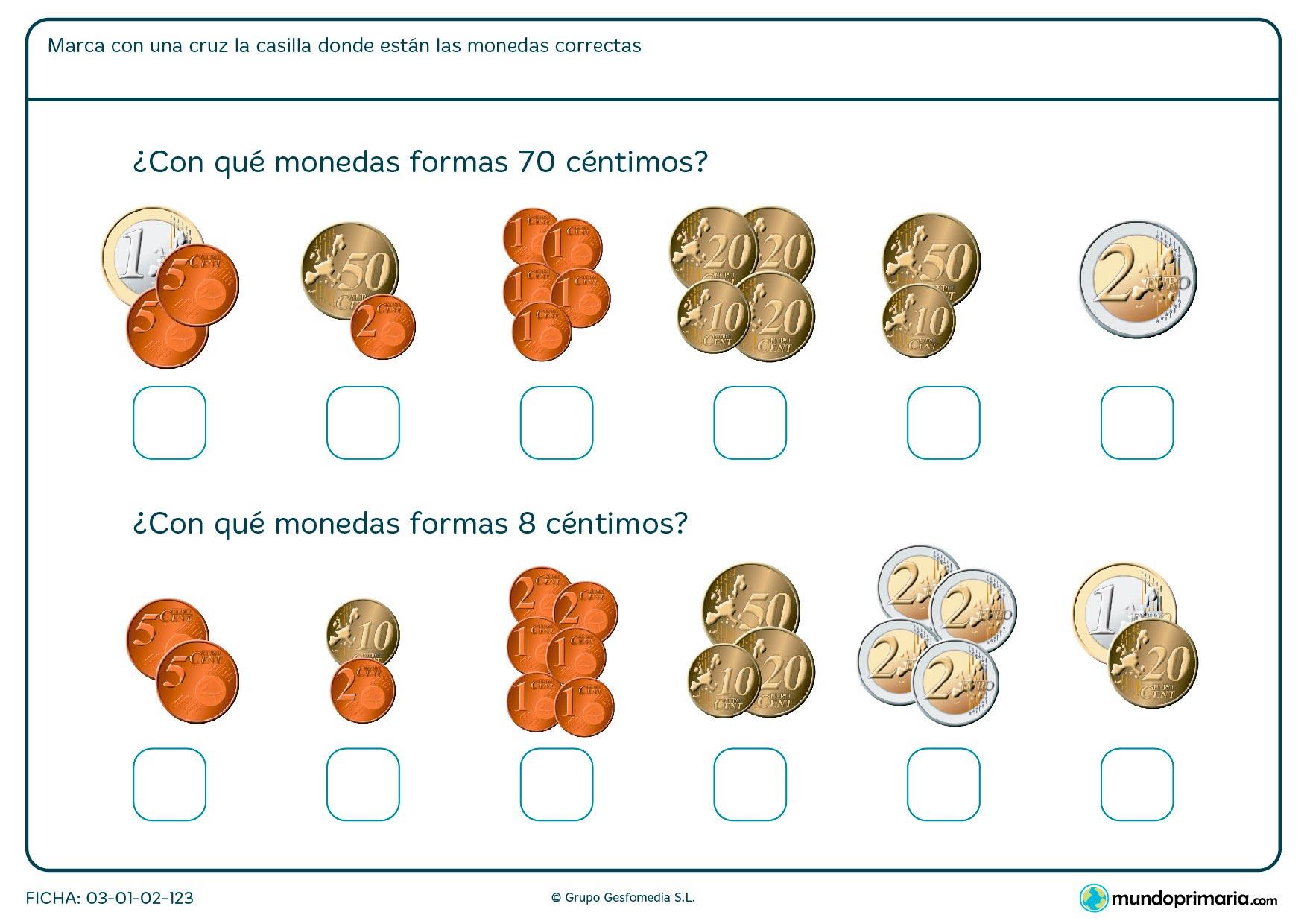 Ficha de monedas correctas en la que hay que marcar con una cruz la casilla correspondiente.