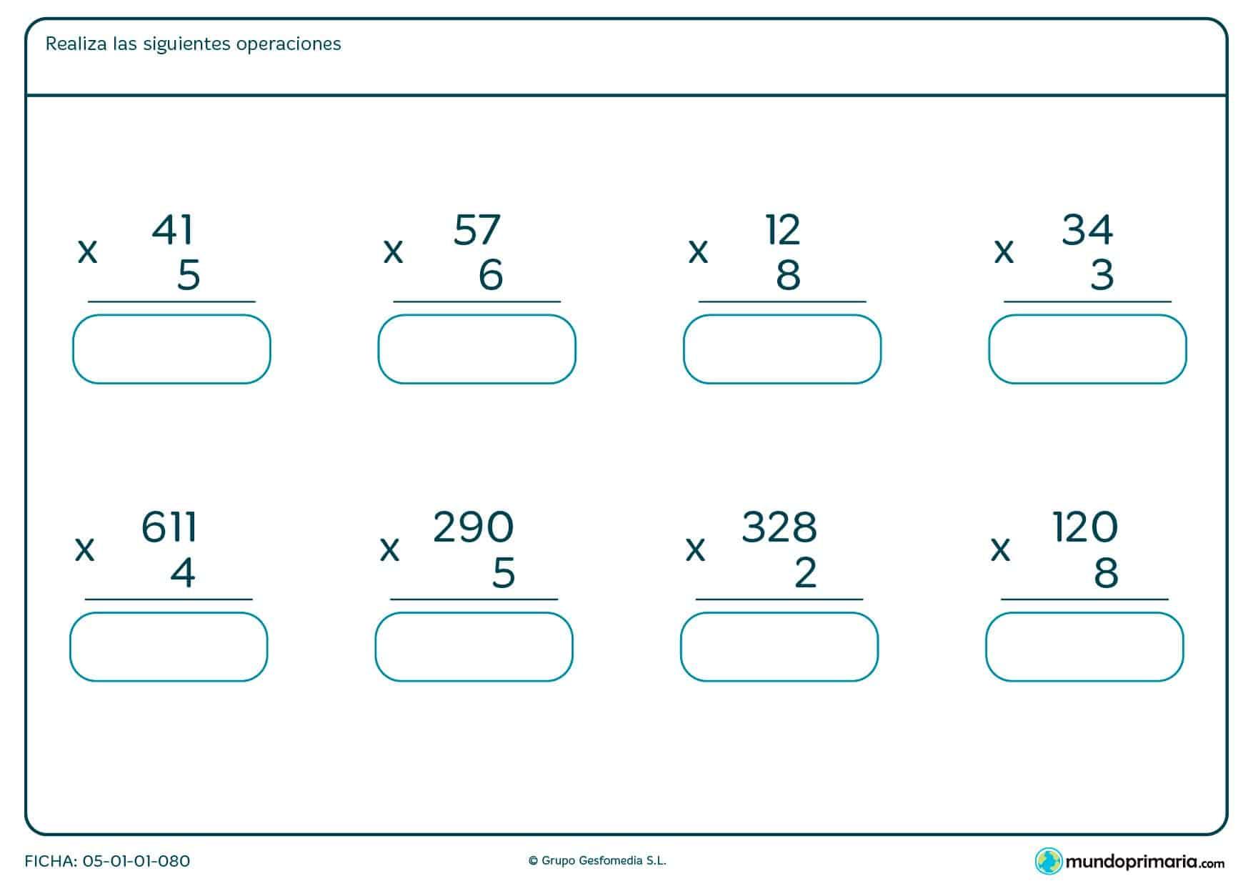 Completa estas multiplicaciones con factores de dos y tres cifras.