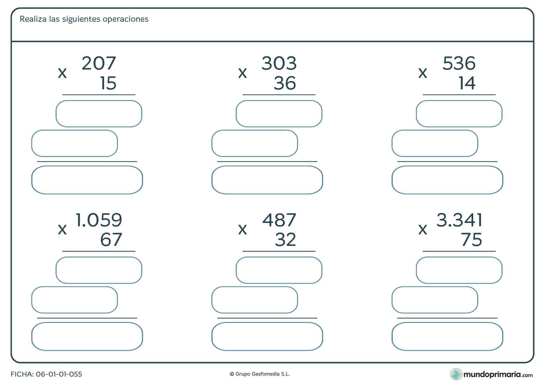 Ficha de multiplicar por números de dos cifras cuya dificultad está ajustada a los criterios de cuarto de Primaria