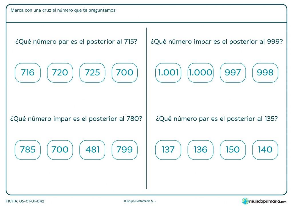 Ficha de números pares e impares posteriores para Primaria