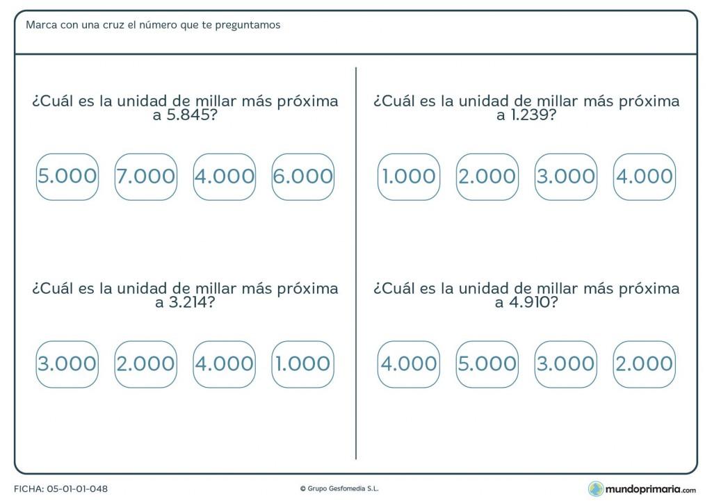 Ficha de números y aproximaciones para primaria