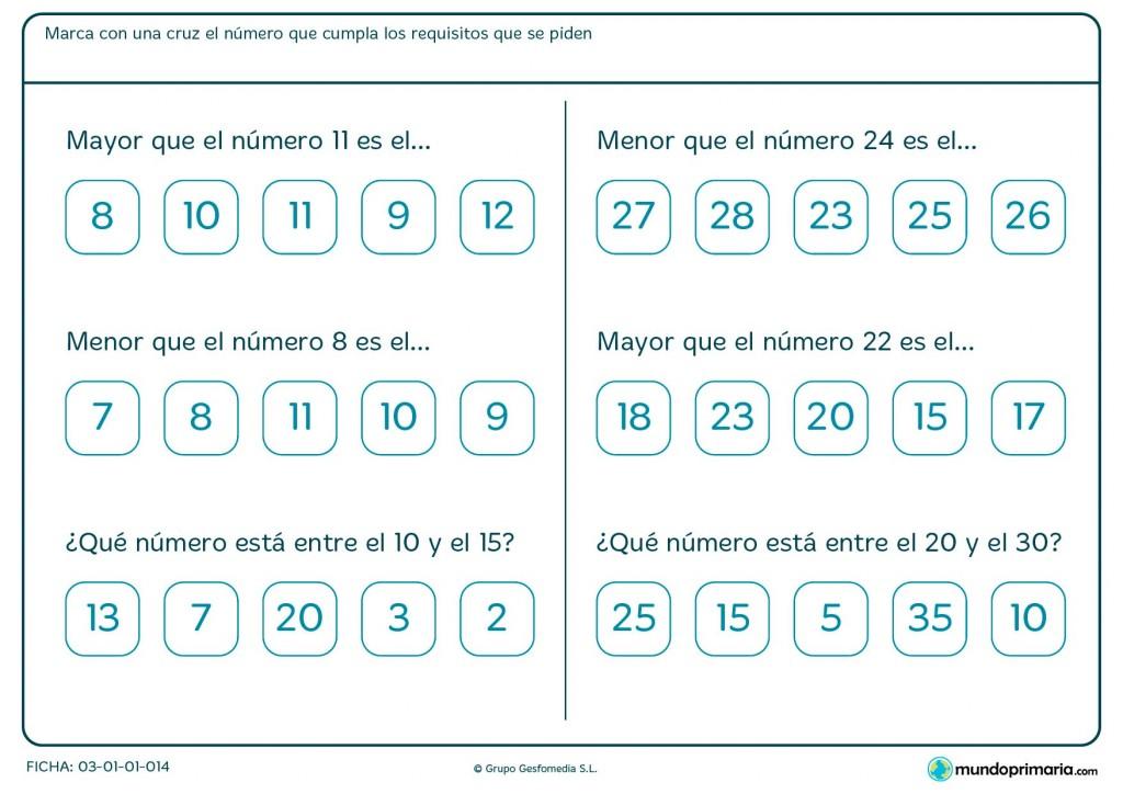 Ficha de números y su orden para Primaria