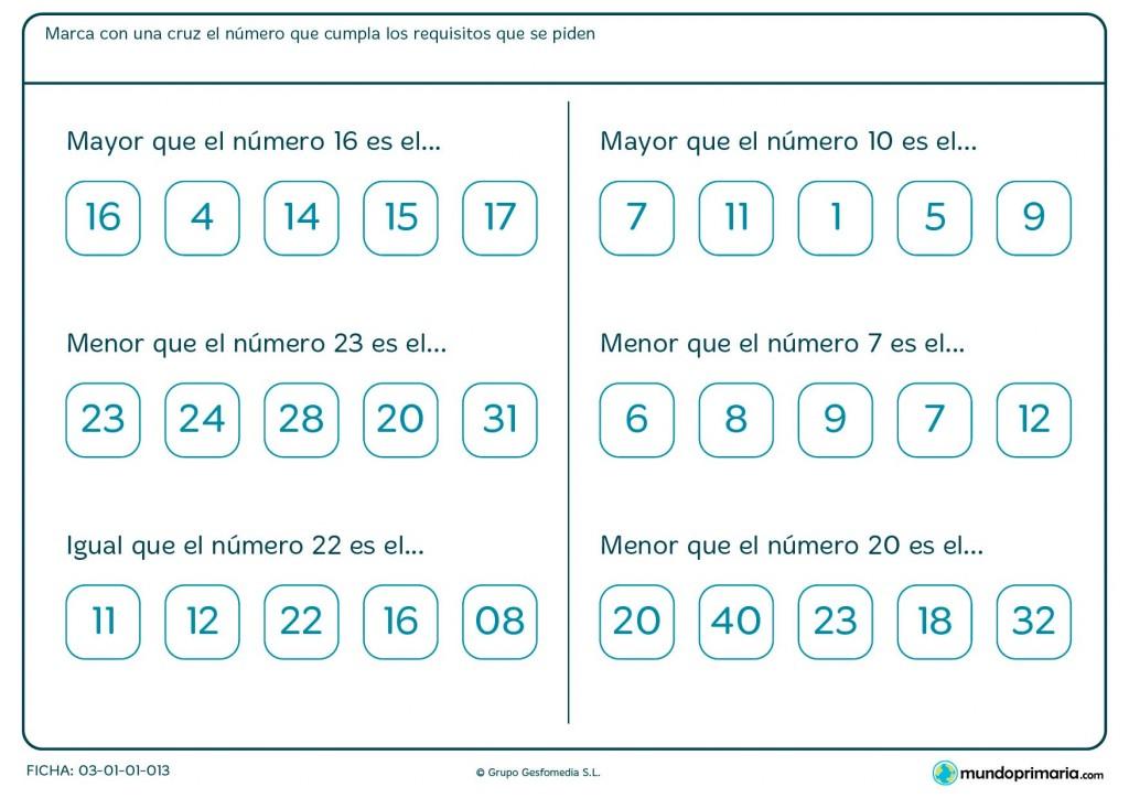Ficha de orden de los números para Primaria