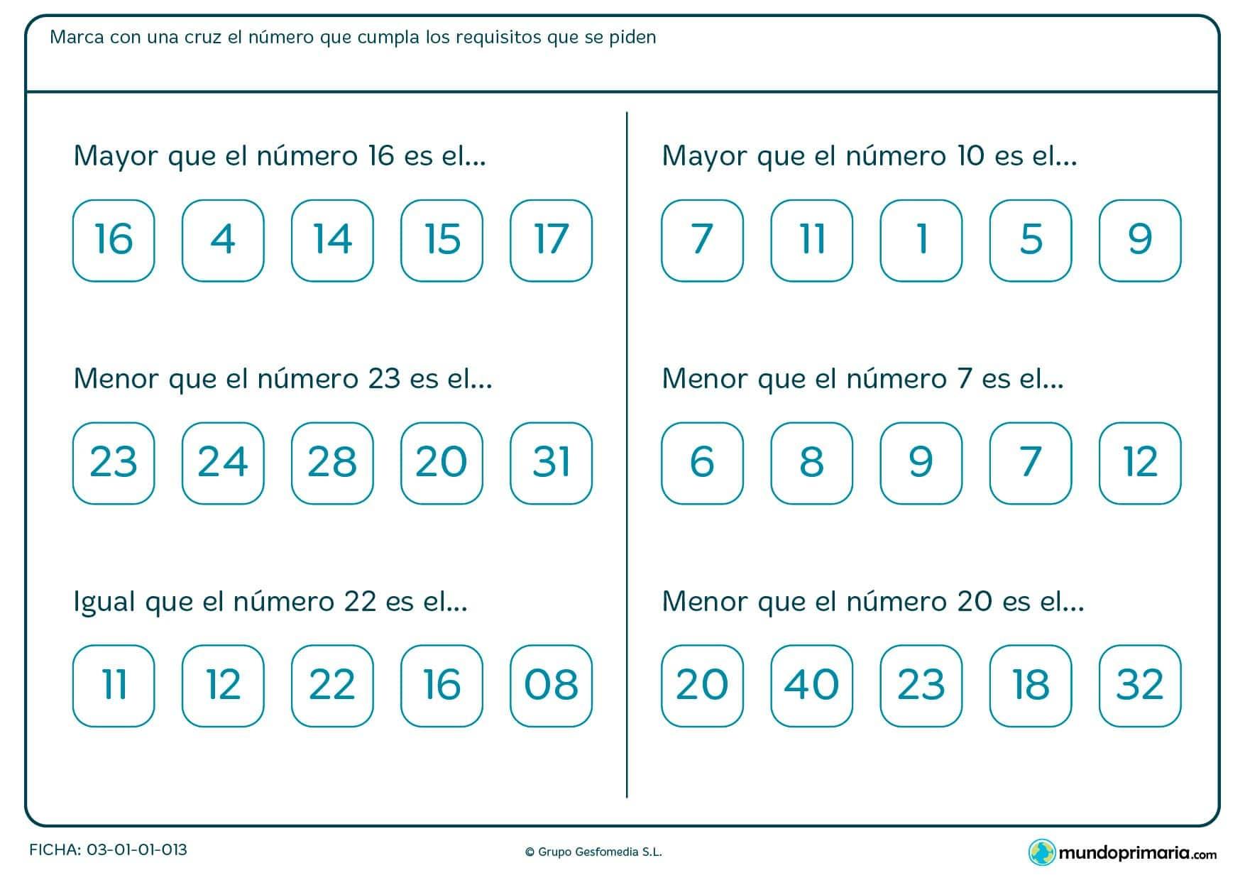Ficha de orden de los números en la que hay que marcar con una cruz el número que cumpla los requisitos que se piden.