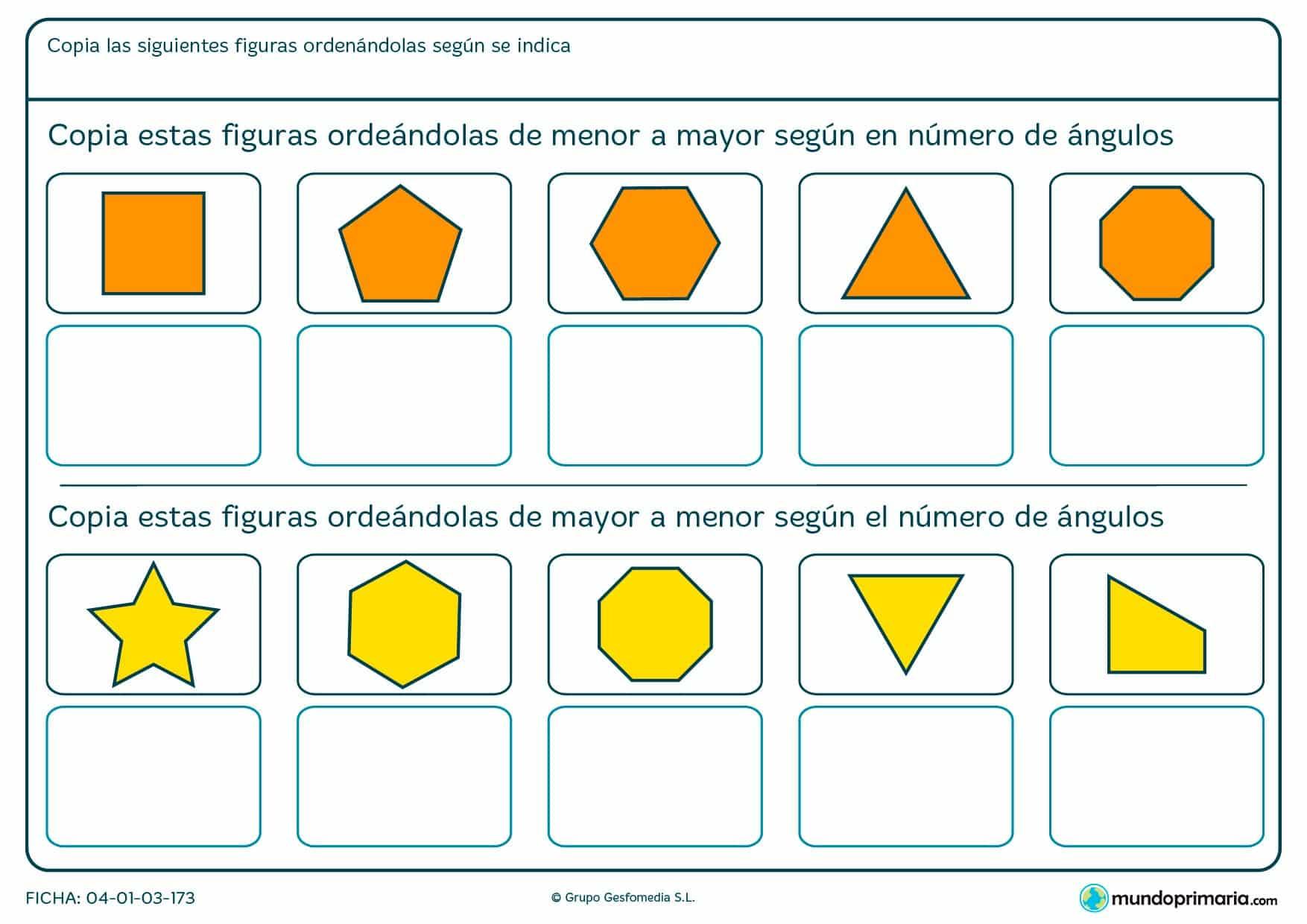 Ficha de ordenar figuras según el número de ángulos por la que tendrás que atender a esta propiedad de los polígonos.