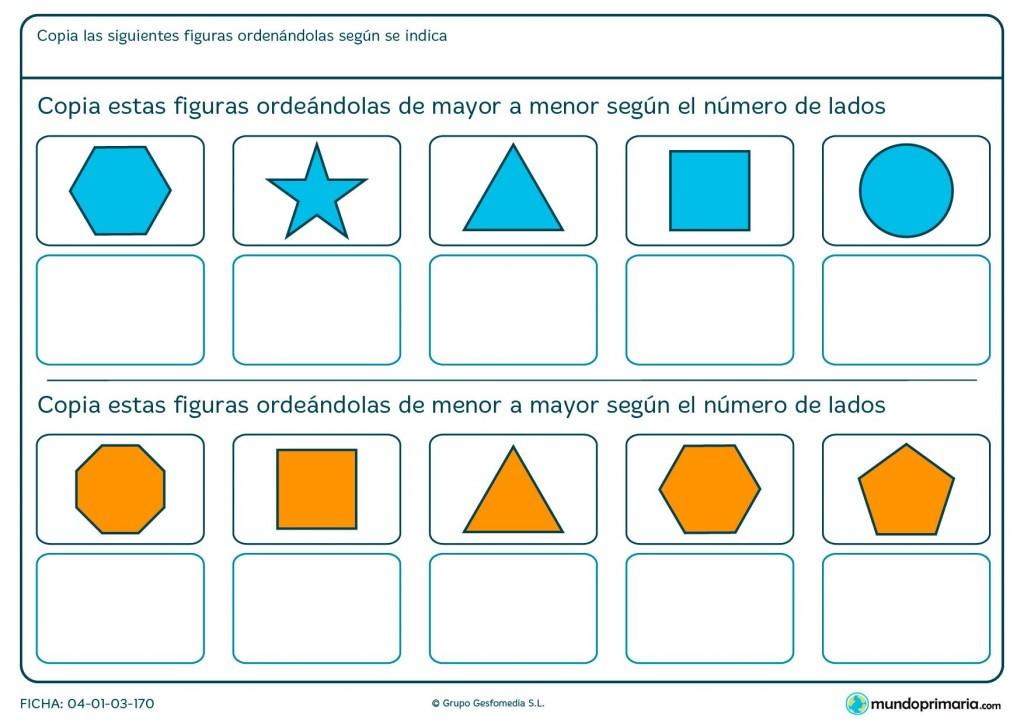 Ficha de ordenar figuras según el número de lados para primaria