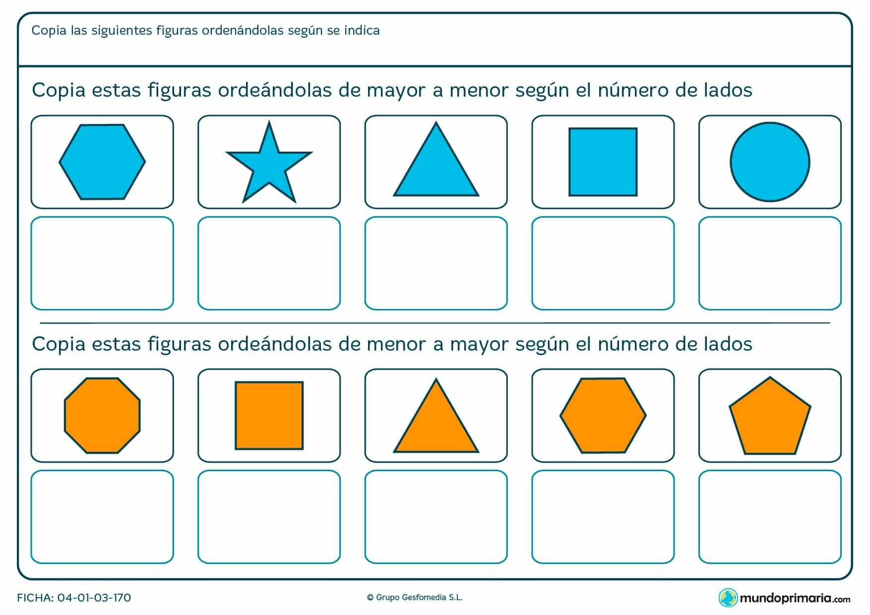 Ficha de ordenar figuras según el número de lados por la que el niño podrá repasar geometría de una manera sencilla y amena.