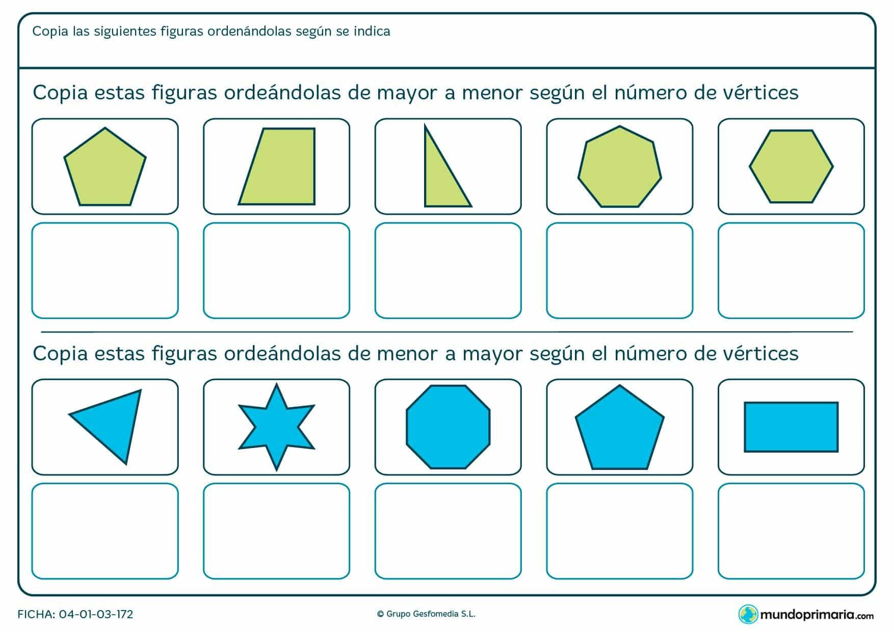 Ficha de ordenar figuras según el número de vértices para niños de segundo de Primaria para repasar geometría.