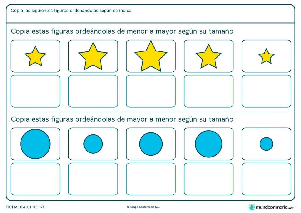 Ficha de ordenar figuras según el tamaño para primaria