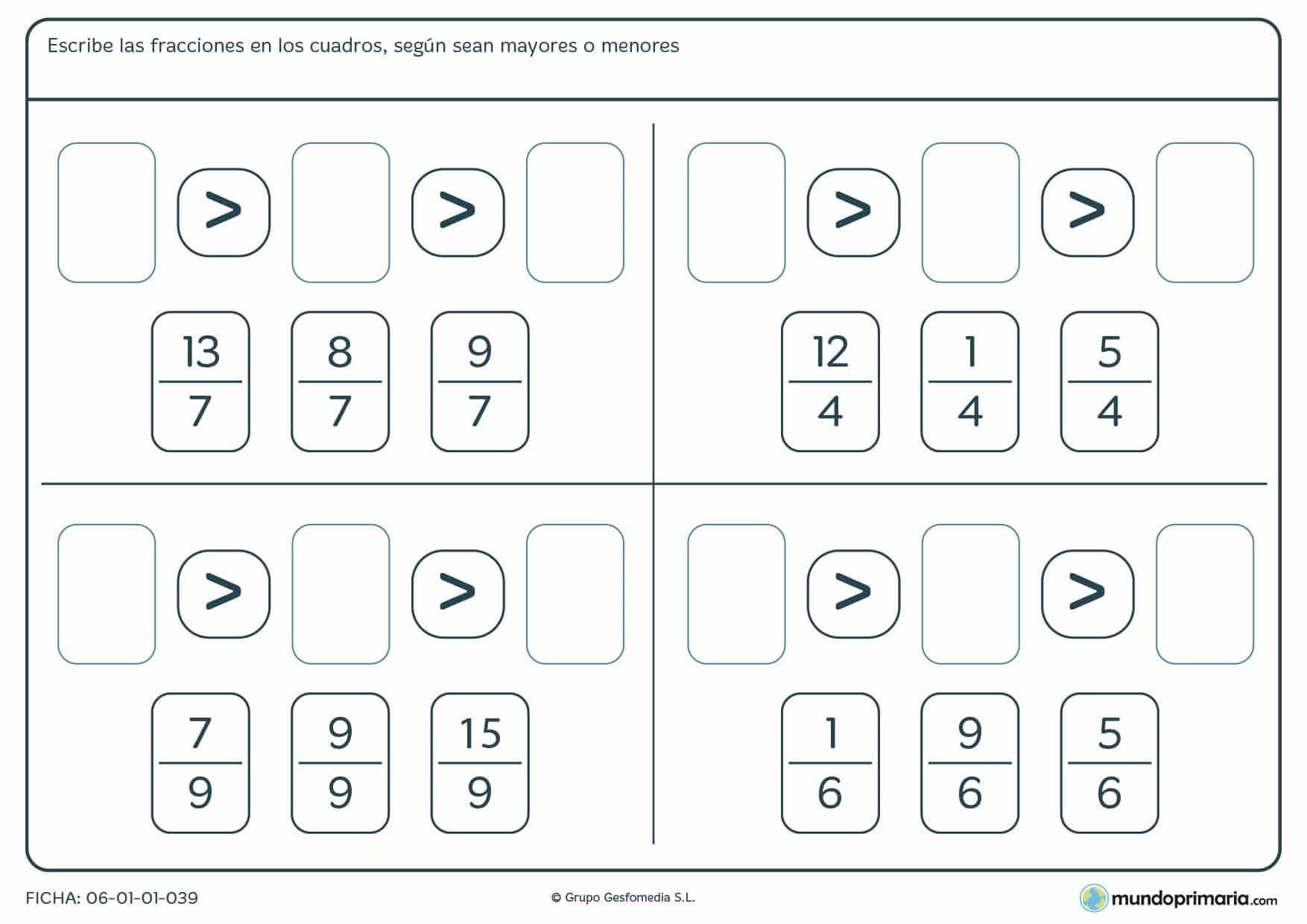 Ficha de ordenar fracciones de mayor a menor que poseen un mismo denominador, recomendada para niños a partir de 4º de Primaria