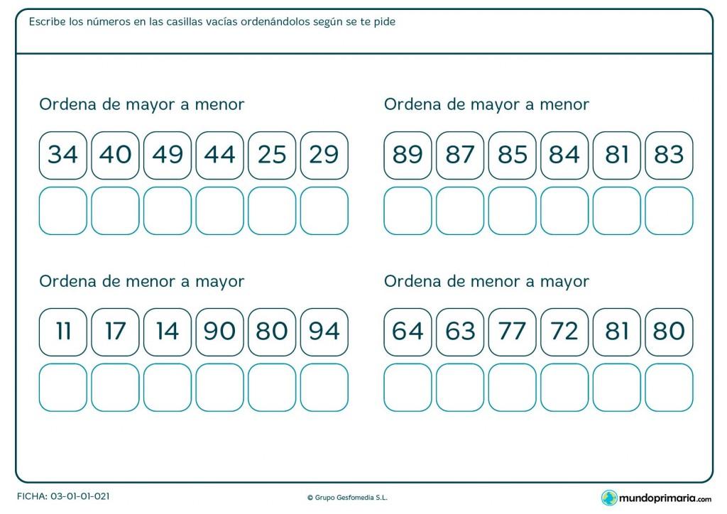 Ficha de ordenar los números para Primaria