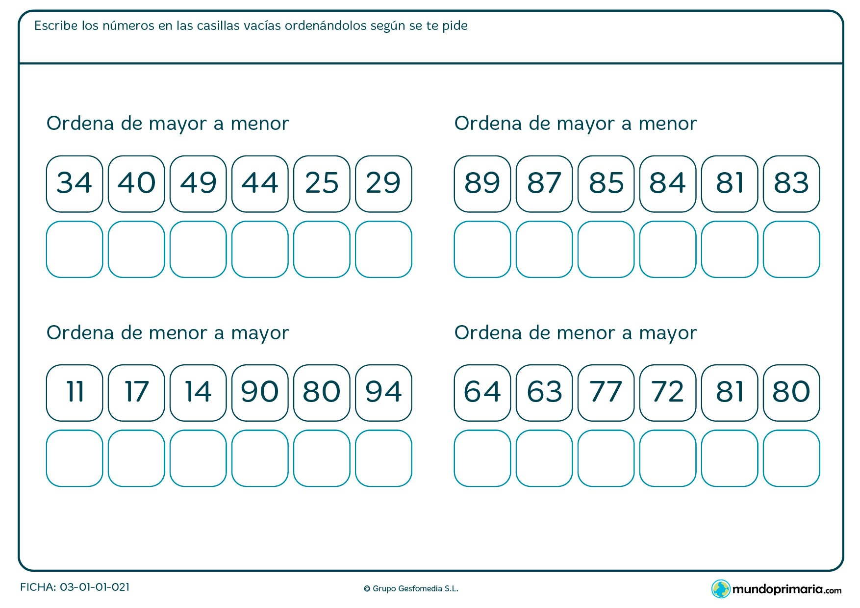 Ficha de ordenar los números en el que hay que volver a escribirlos en los casillas según el orden que te piden.
