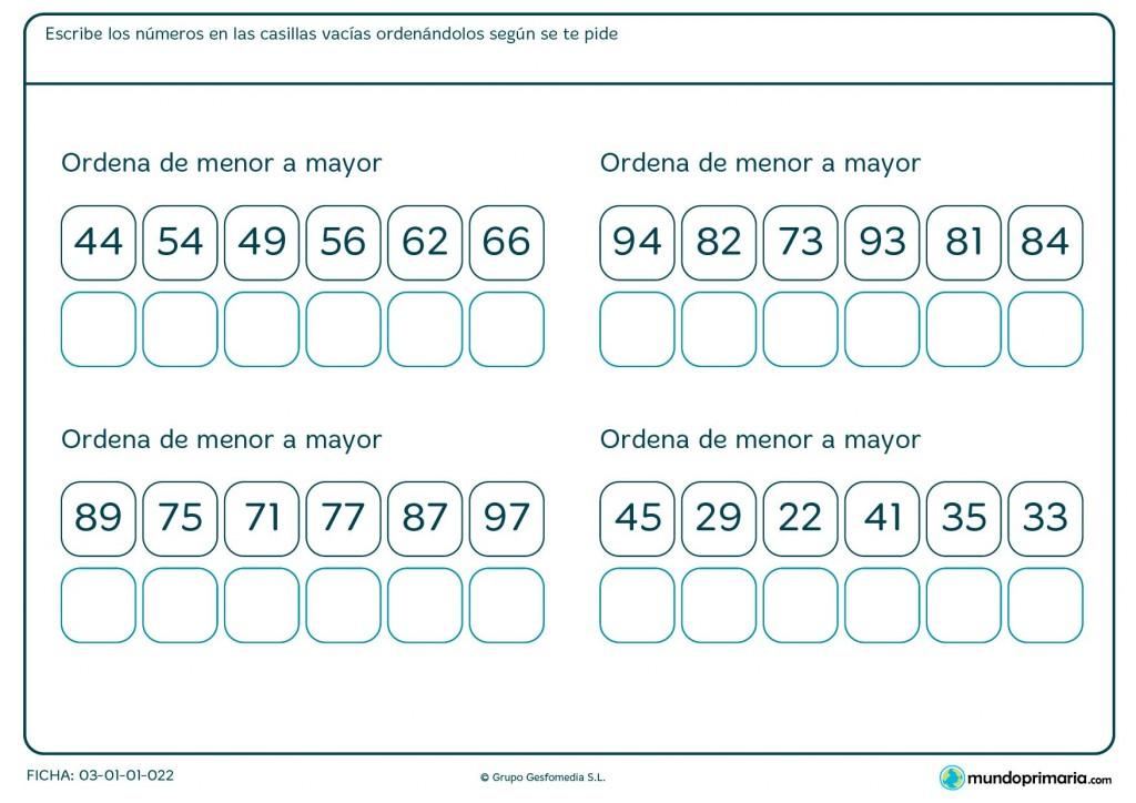 Ficha de organizar de menor a mayor para Primaria