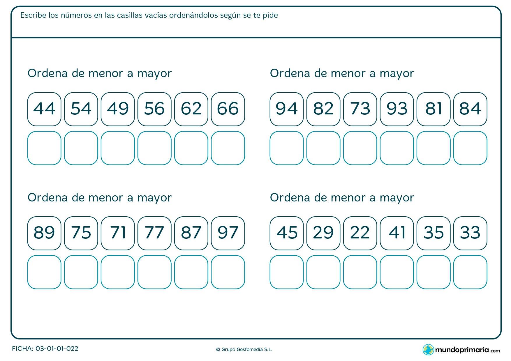 Ficha de organizar de menor a mayor los números que te vienen en el ejercicio colocándolos en los recuadros.