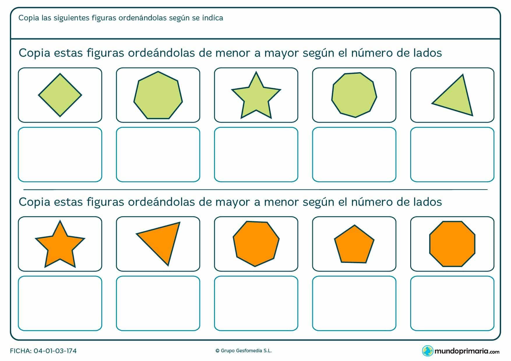 Ficha de organizar figuras según el número de lados por la que tendrás ordenar las diferentes opciones atendiendo a esta propiedad.