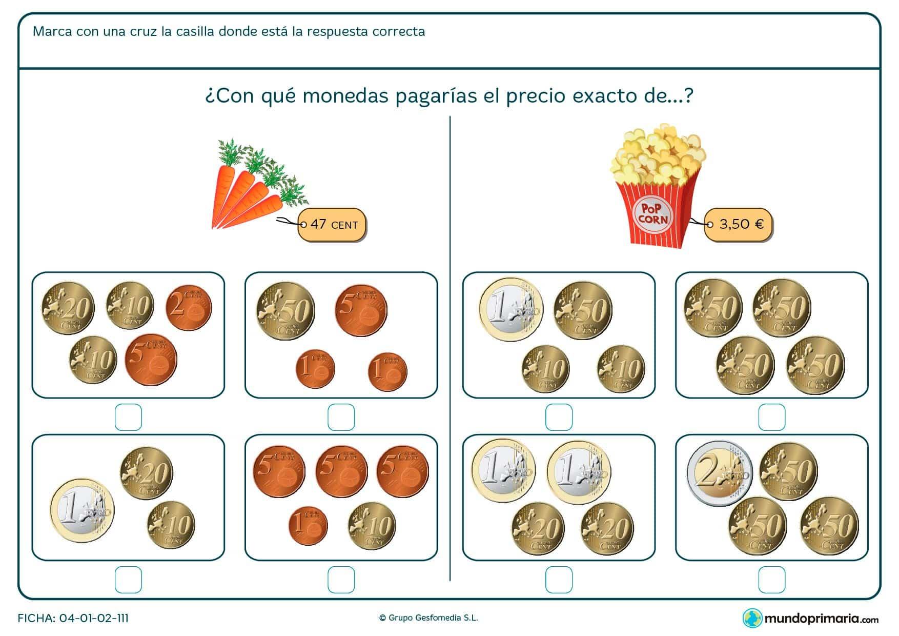 Ficha de pagar las palomitas para niños de siete a ocho años por la que los niños pensarán cuál es la manera adecuada de comprar el objeto.