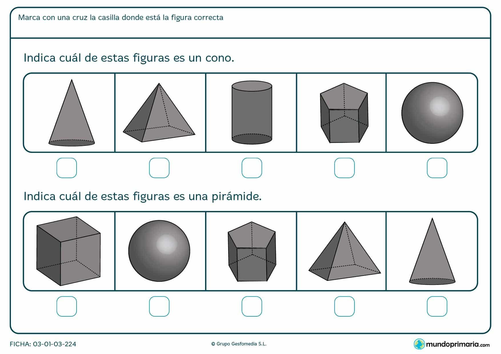 Ficha de planos piramidales en la que hay que indicar la figura que te pide en el enunciado.