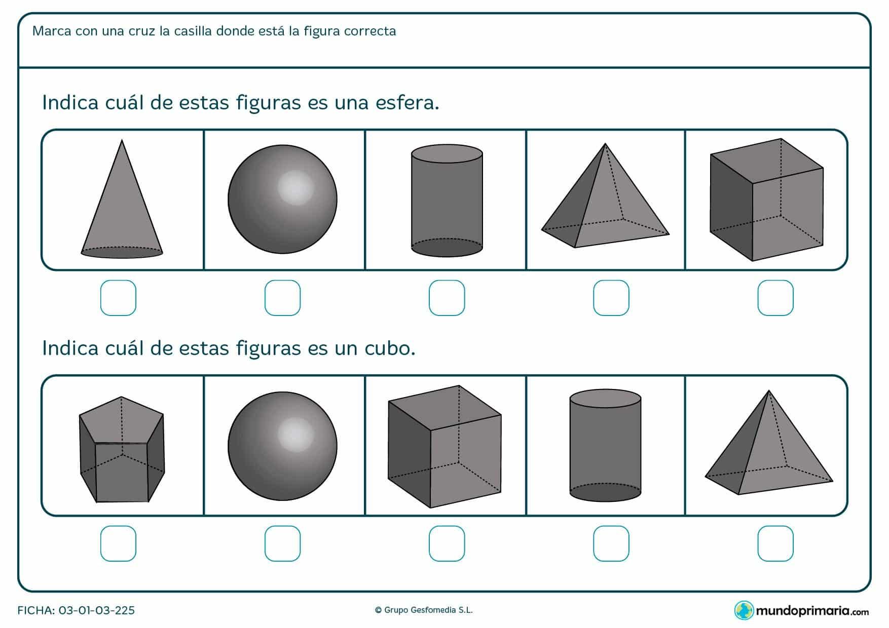 Ficha de poliedros en el cuál hay que marcar la casilla en la que se encuentra la figura que corresponde.