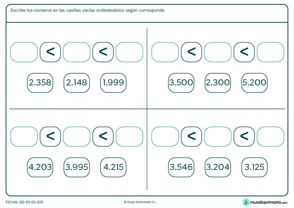 Ficha de poner los números ordenados en las casillas para Primaria