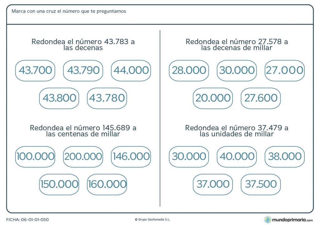 Ficha de redondear números a distintas unidades para 4º