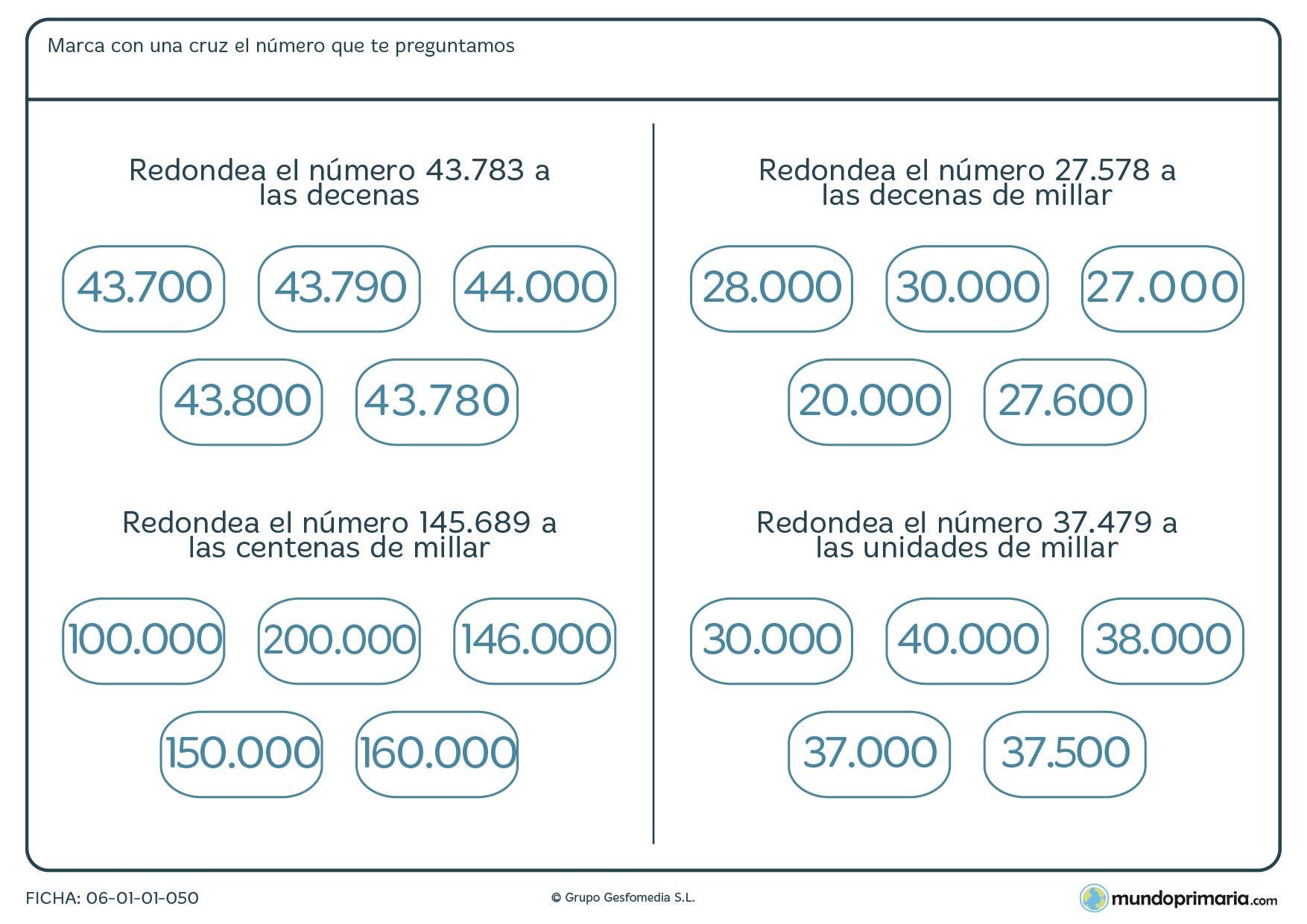 Ficha de redondear para que los alumnos de cuarto practiquen con distintas cifras
