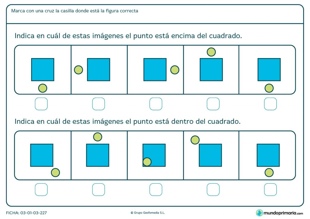 Ficha de puntos sobre el cuadrado para primaria