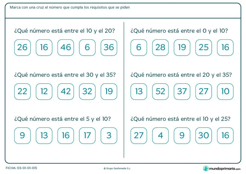 Ficha de rangos de números para Primaria