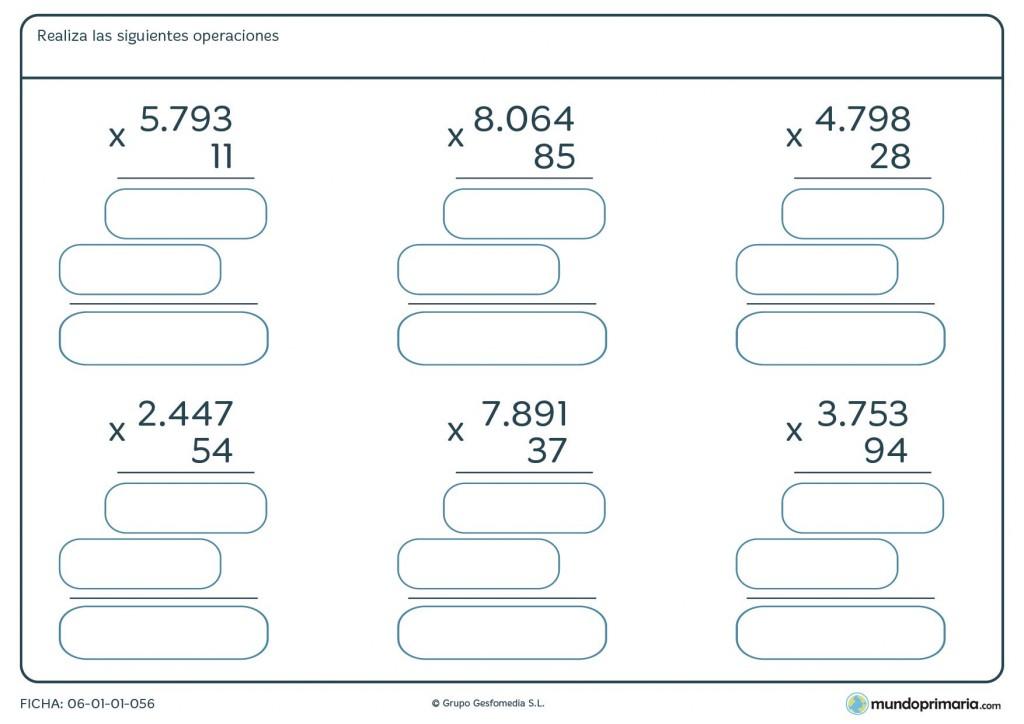 Ficha de realizar operaciones de multiplicar para cuarto for Cuarto primaria