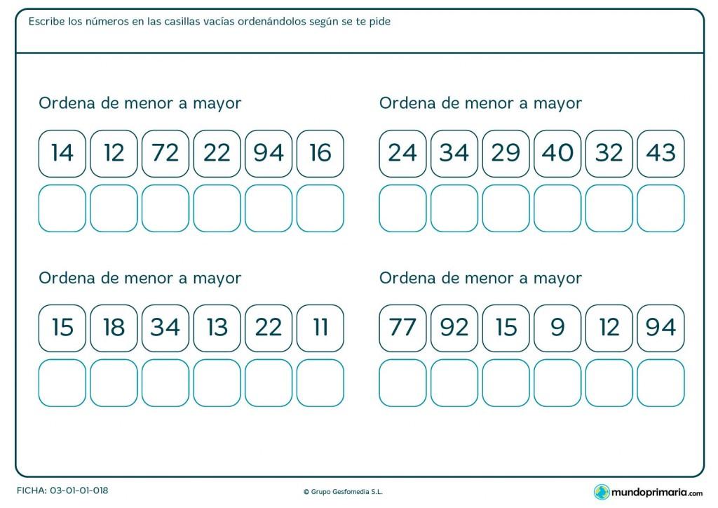 Ficha de recolocar de menor a mayor para Primaria
