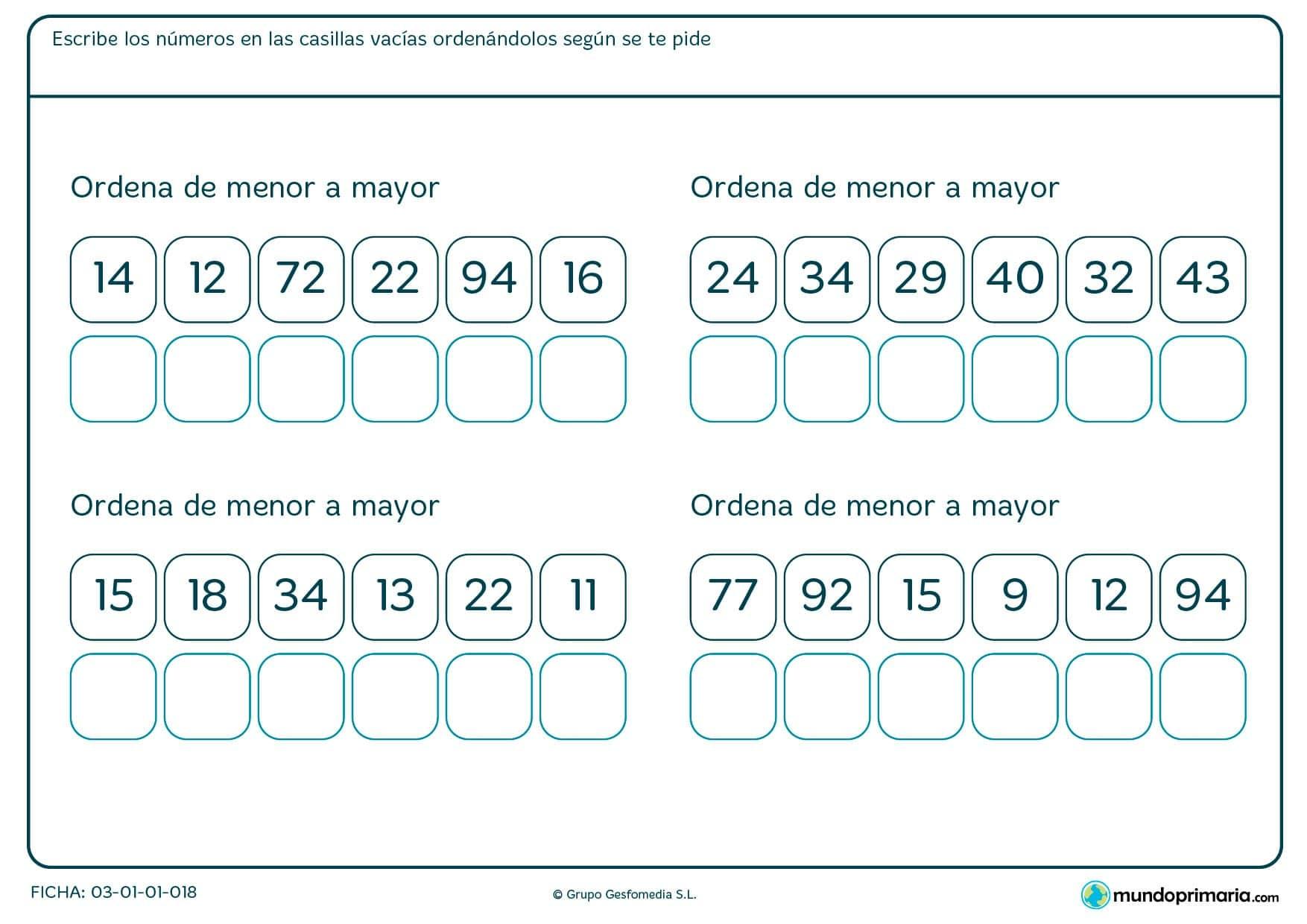 Ficha de recolocar de menor a mayor en el que hay que poner los números que te vienen en las casillas correspondientes.